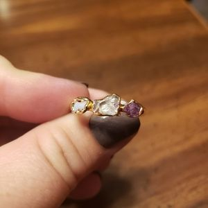 Opal ruby and Herkimer diamond ring